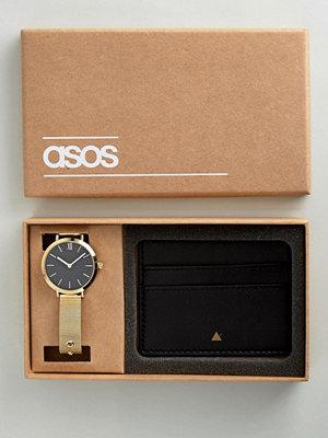 Klockor - ASOS Premium Leather Card Holder and Mesh Watch Gift Set