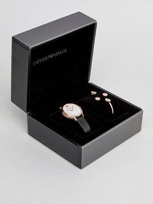 Klockor - Emporio Armani AR80011 Leather Watch Gift Set With Earrings & Bracelet