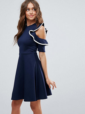 Club L Cold Shoulder Frill Detail Skater Dress With Piping - Navy/white