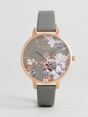 Klockor - Olivia Burton OB16CS08 Marble Floral Leather Watch In Grey