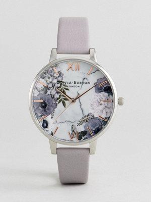 Klockor - Olivia Burton OB16MF05 Marble Floral Leather Watch In Grey