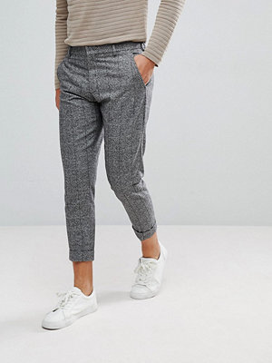 Byxor - Selected Homme Smart Cropped Trousers In Grey Check