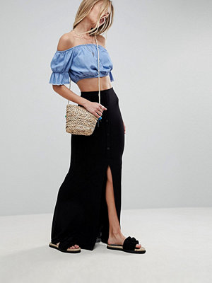 ASOS Maxi Skirt with Buttons and Curved Hem at Back