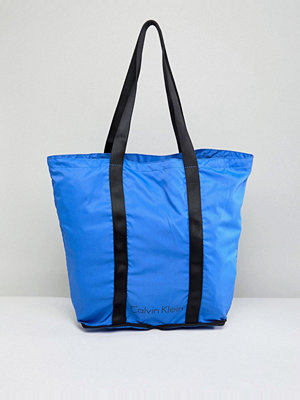 Calvin Klein Packable Shopper Bag in Bright Blue