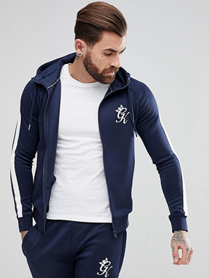 Street & luvtröjor - Gym King Muscle Hoodie In Navy With White Stripe