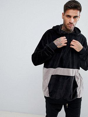 Street & luvtröjor - boohooMAN Towelling Colour Block Hoodie In Black