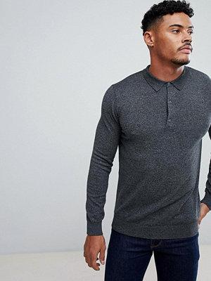 Pikétröjor - Burton Menswear Knitted Long Sleeve Polo In Grey