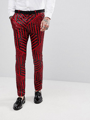 Byxor - ASOS Super Skinny Trousers In Red With Black Sequins