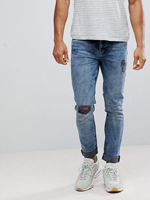 Jeans - ASOS Skinny Jeans In Washed Blue Black With Knee Rips