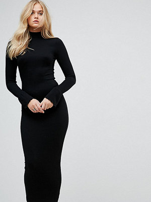 Asos Tall City Maxi Rib Bodycon Dress with Polo Neck and Frill Cuffs