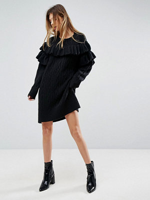 ASOS Knitted Dress With Cable And Ruffle