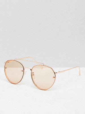 Solglasögon - ASOS Aviator Sunglasses In Rose Gold Metal With Laid On Lens