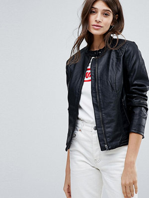 Jdy Collarless Leather Look Jacket