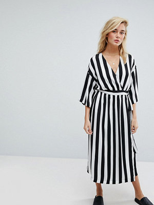 MOSS Copenhagen Wrap Front Dress With Kimono Sleeves In Monochrome Stripe