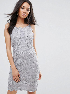 Ax Paris Grey Sleeveless Crochet Dress