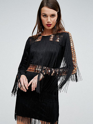 A Star Is Born Mini Dress In Jersey With Embellished Studs And Fringing