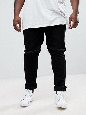 Jeans - ASOS PLUS Skinny Jeans In Black With Knee Rips