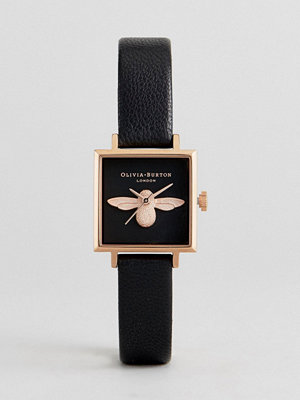 Olivia Burton OB16AM128 3D Bee Square Leather Watch In Black