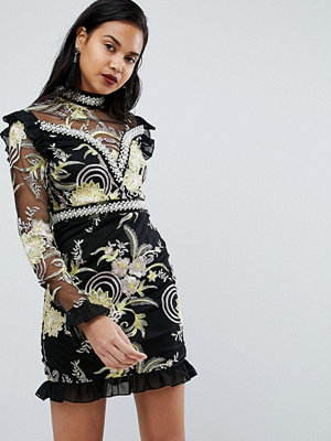 PrettyLittleThing Premium Floral High Neck Embellished Mini Dress