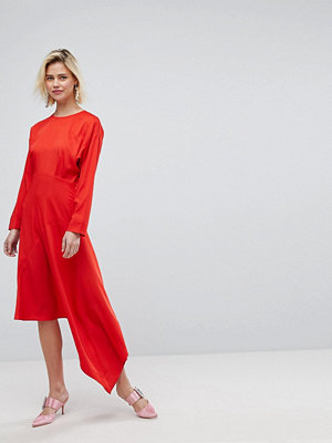 Warehouse Asymmetric Hem Midi Dress