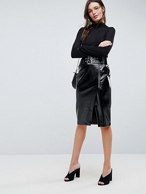 ASOS Vinyl Pencil Skirt with Belt Detail
