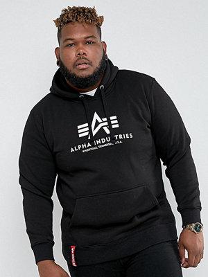 Street & luvtröjor - Alpha Industries PLUS Logo Hoodie Sweatshirt in Black