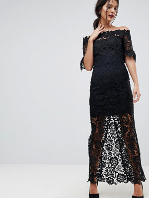 Paper Dolls Off Shoulder Crochet Maxi Dress With Frill Sleeve