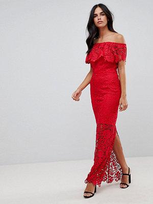 Paper Dolls Ruffle Off Shoulder Crochet Maxi Dress