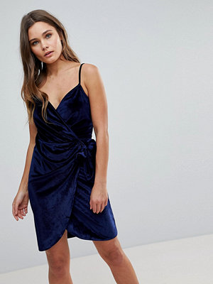 Parisian Velvet Cami Wrap Dress With Tie - Navy 2