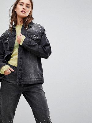 Jeansjackor - Chorus Pearl Embellished Oversized Denim Jacket