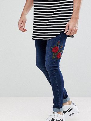 Jeans - Brooklyn Supply Co. Brooklyn Supply Co Muscle Fit Jeans Deep Indigo With Rose Embroidery