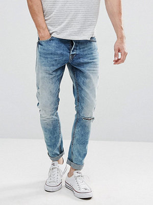 Jeans - Only & Sons Slim Jeans With Open Knee Rip