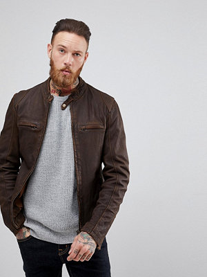 Skinnjackor - Goosecraft Washingon Leather Jacket with Button Collar in Brown