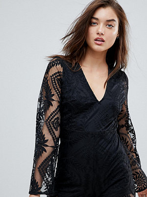 PrettyLittleThing Lace Trim Long Sleeve Playsuit