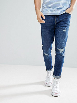 Jeans - Bershka Skinny Tapered Jeans In Mid Blue Wash
