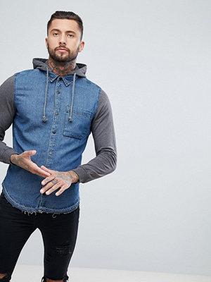 Skjortor - Pull&Bear Contrast Denim Shirt With Hood In Grey