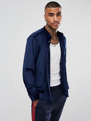 Skjortor - ASOS Velour Overshirt In Navy