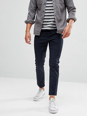 ASOS Skinny Cropped Chinos In Navy