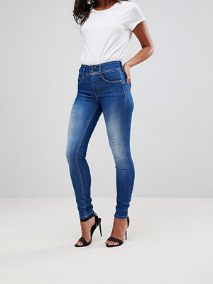 Salsa Secret waist cculpting jeans i smal passform Mellanblå färg