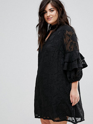 Lovedrobe Ruffle Sleeve Shift Dress In Burnout Floral