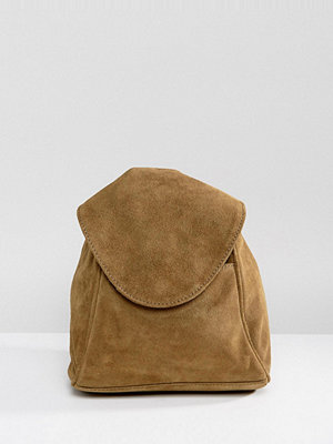 ASOS ryggsäck Suede Minimal Backpack With Ring Pull Detail