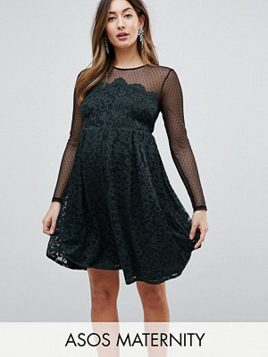 ASOS Maternity Lace & Dobby Mini Skater Dress