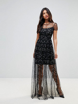 City Goddess Overlay Chiffon Maxi Dress In Star Print - Black star