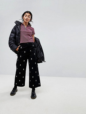 Lazy Oaf Wide Leg Jeans With All Over Skull Embroidery