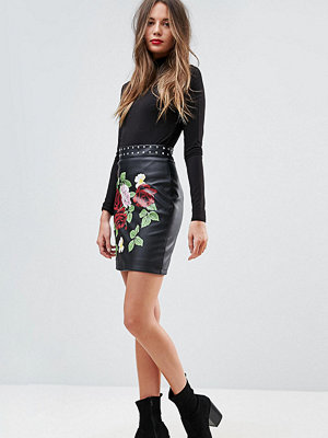 Asos Tall Leather Look Mini Skirt with Rose and Stud Detail