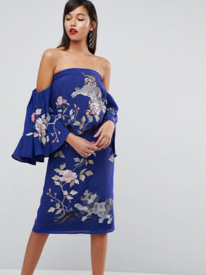 ASOS Extreme Sleeve Bardot Dragon Embroidered Midi Dress