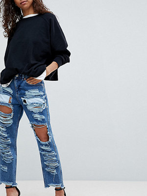 ASOS Petite ORIGINAL MOM Jeans in Authentic Mid Wash with Extreme Super Busts