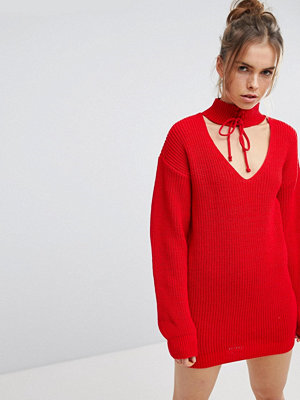 Glamorous Relaxed Jumper With Cut Out Collar And Tie Cuffs