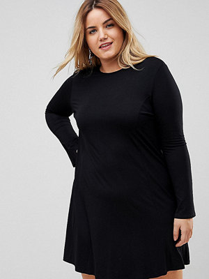 ASOS Curve Mini Swing Dress with Seam Detail and Trumpet Sleeve