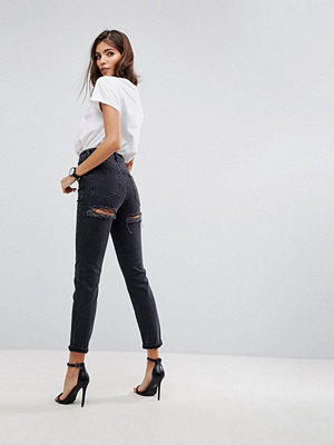 ASOS FARLEIGH High Waist Slim Mom Jeans in Washed Black with Bum Rips